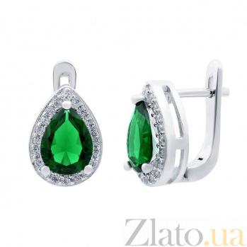 Серебряные серьги с зеленым цирконом Летний дождь AQA--CTE09146-EG