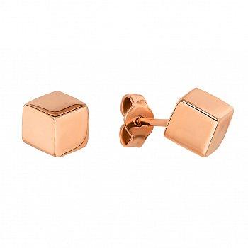 Серьги-пуссеты из красного золота в стиле геометрия 000123297