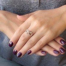 Кольцо в красном золоте Счастливый случай с фианитами