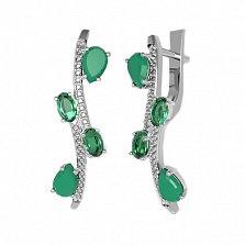 Серебряные серьги Нежные ветви с зеленым агатом, зеленым кварцем и фианитами