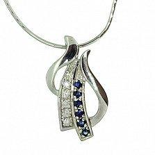 Серебряная подвеска с сапфирами и бриллиантами Морэна