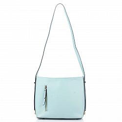 Кожаная сумка на каждый день Genuine Leather 8619 голубого цвета с одним отделением на молнии