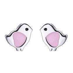 Серебряные серьги-пуссеты Птенчики с эмалью