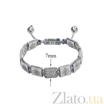 Серый текстильный браслет Шамбала с квадратными бусинами и кристаллами Swarovski Ш3квадрат серый