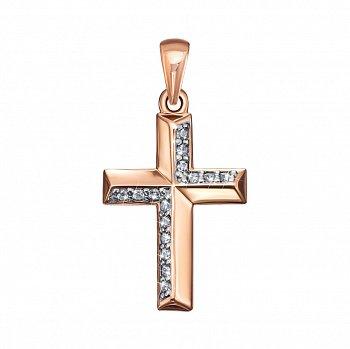 Декоративный золотой крестик в комбинированном цвете с фианитами 000135266