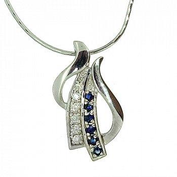 Серебряная подвеска с сапфирами и бриллиантами 000022242