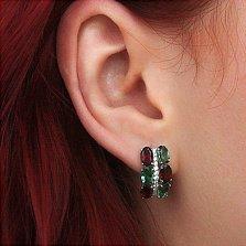 Серебряные серьги Альента с гранатом, зеленым кварцем и цирконием