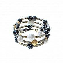 Спиральный браслет Магнис с жемчугом, агатом и ониксом