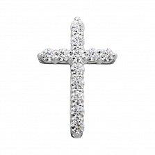 Золотой крестик Вера в белом цвете с кристаллами Swarovski