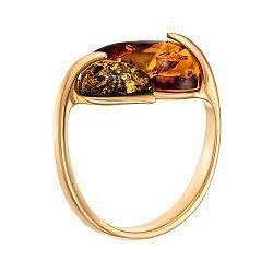 Серебряное кольцо в позолоте с янтарем 000149067