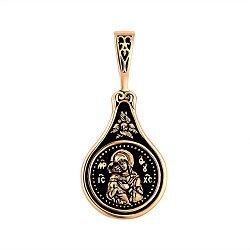 Ладанка в комбинированном цвете золота Владимирская Божья Матерь с чернением 000136139