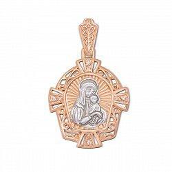 Золотая ладанка икона Божией Матери Казанская с орнаментом и фианитами