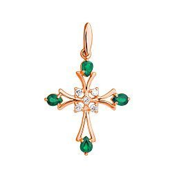 Золотой декоративный крест в красном цвете с бриллиантами и изумрудами 000021619