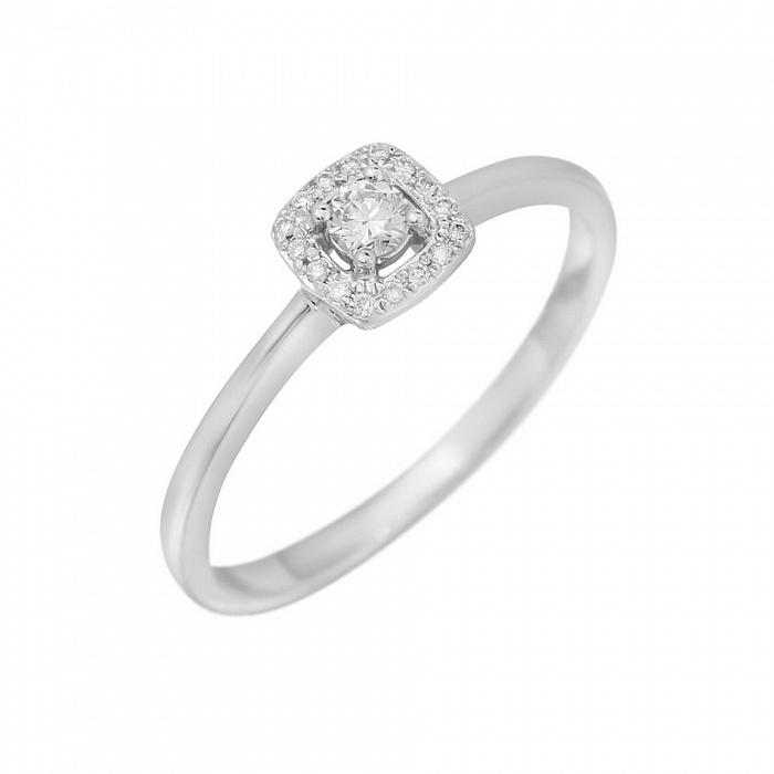 Кольцо из белого золота Мэган с бриллиантами 000080906