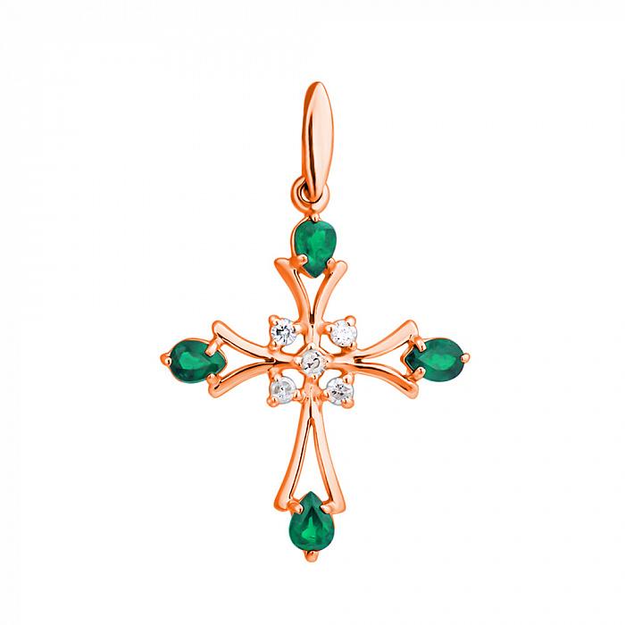Золотой декоративный крест в красном цвете с бриллиантами и изумрудами 000021619 ZMX--PE-6486_K