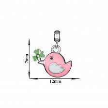 Детская серебряная подвеска Птичка с розовой эмалью, 7х12мм