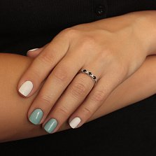 Серебряное кольцо с бриллиантами и сапфирами Сандра