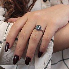 Золотое кольцо Мадлен с лондон топазом и сапфирами