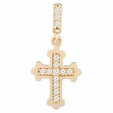 Крестик в желтом золоте Таинство с фианитами