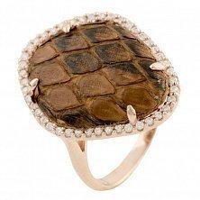 Серебряное кольцо Белинда с коньячной кожей питона и фианитами