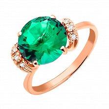 Кольцо из красного золота Мирабелла с зеленым кварцем и фианитами