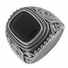 Серебряный перстень Арктур с черным ониксом и шинкой в лиственных узорах