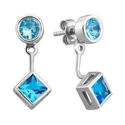 Серебряные серьги с голубыми фианитами 000129297