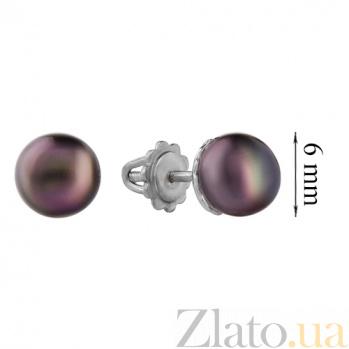 Серебряные серьги-пуссеты Милана с черным жемчугом, 6мм 2263/9р чёрн