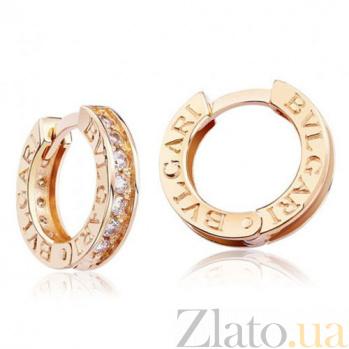 Золотые серьги-кольца Итальянский стиль с фианитами EDM--С0306