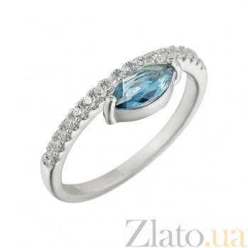 Кольцо из серебра Калипсо с голубым и белыми фианитами 000081530