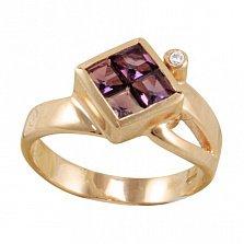 Золотое кольцо Жозефа с морганитами и фианитом