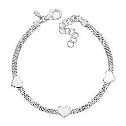 Серебряный браслет со вставками-сердечками 000138708