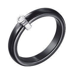 Кольцо из черной керамики и серебра с фианитом 000131770