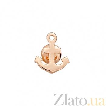 Золотая сережка-пуссета Якорь 000023381
