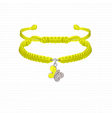 Детский плетеный браслет Бабочка с эмалью и фианитами 11-13см