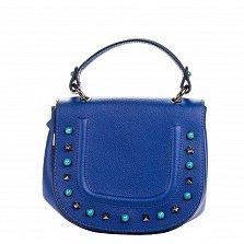 Кожаный клатч Genuine Leather 1523 синего цвета с короткой ручкой и декоративными элементами