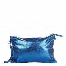 Кожаный клатч Genuine Leather 1661 синего цвета с короткой ручкой на запястье и молнией