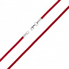 Шнурок из красного шелка с серебряной застежкой Болеро