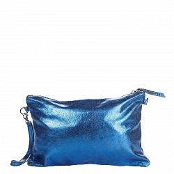 Кожаный клатч Genuine Leather 1661 синего цвета с короткой ручкой на запястье и молнией 000092775