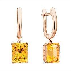 Серьги-подвески из красного золота с цитринами 000132371