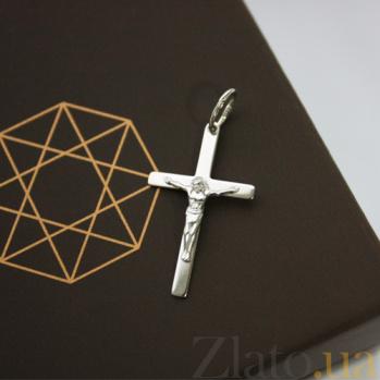 Крестик из белого золота Спаси и сохрани HUF--115-М бел