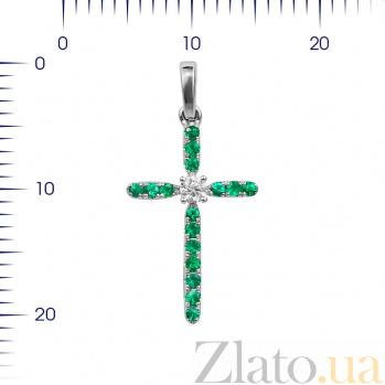 Крестик из белого золота Леона с изумрудами и бриллиантом 000081079