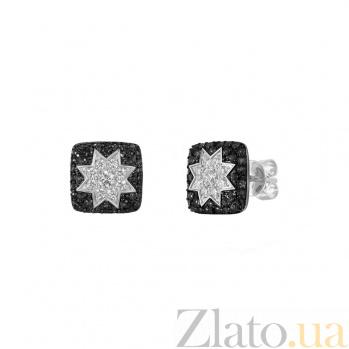 Серьги-пуссеты из белого золота Звезда эльфов с черными и белыми бриллиантами 000082008