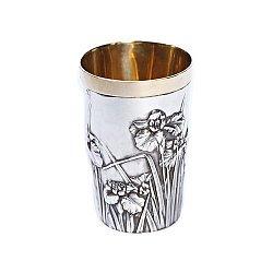 Серебряный стакан Ирисы с позолотой