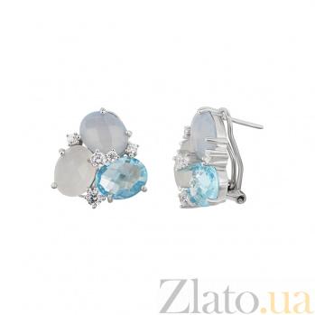 Серебряные серьги с халцедоном, топазом и фианитами Морская палитра 000032369