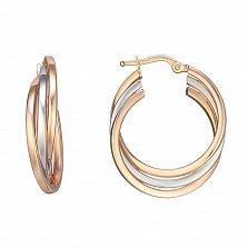 Серьги-кольца из красного и белого золота Тройная линия