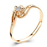 Золотое кольцо Счастливая жизнь в красном цвете с бриллиантом 3,75мм
