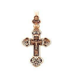 Православный крестик из красного золота с чернением 000130863