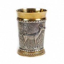 Серебряный стакан с позолотой Олень