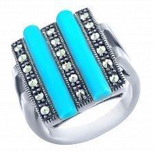 Серебряное кольцо Ария с бирюзой и марказитом